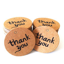 100Pcs Thank You Brown Kraft Paper Stickers Label Party Gift Packaging Tag Decor