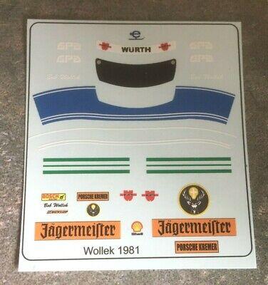 1/18 Custom Driver Figure & Helmet Decals Bob Wollek 1981 Lemans Porsche-