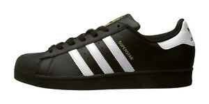 finest selection cacb0 f6e6d Image is loading ADIDAS-Superstar-Foundation-Black-White-Leather-Lace-Up-
