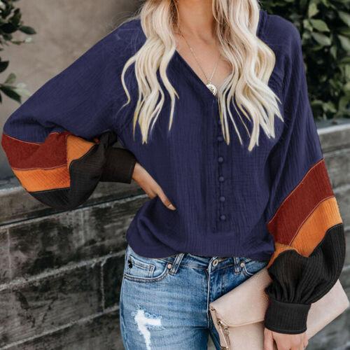 Damen V Neck Langarm Bluse Tops Puffärmel Printed Freizeit Lose Hemd Shirts Tee