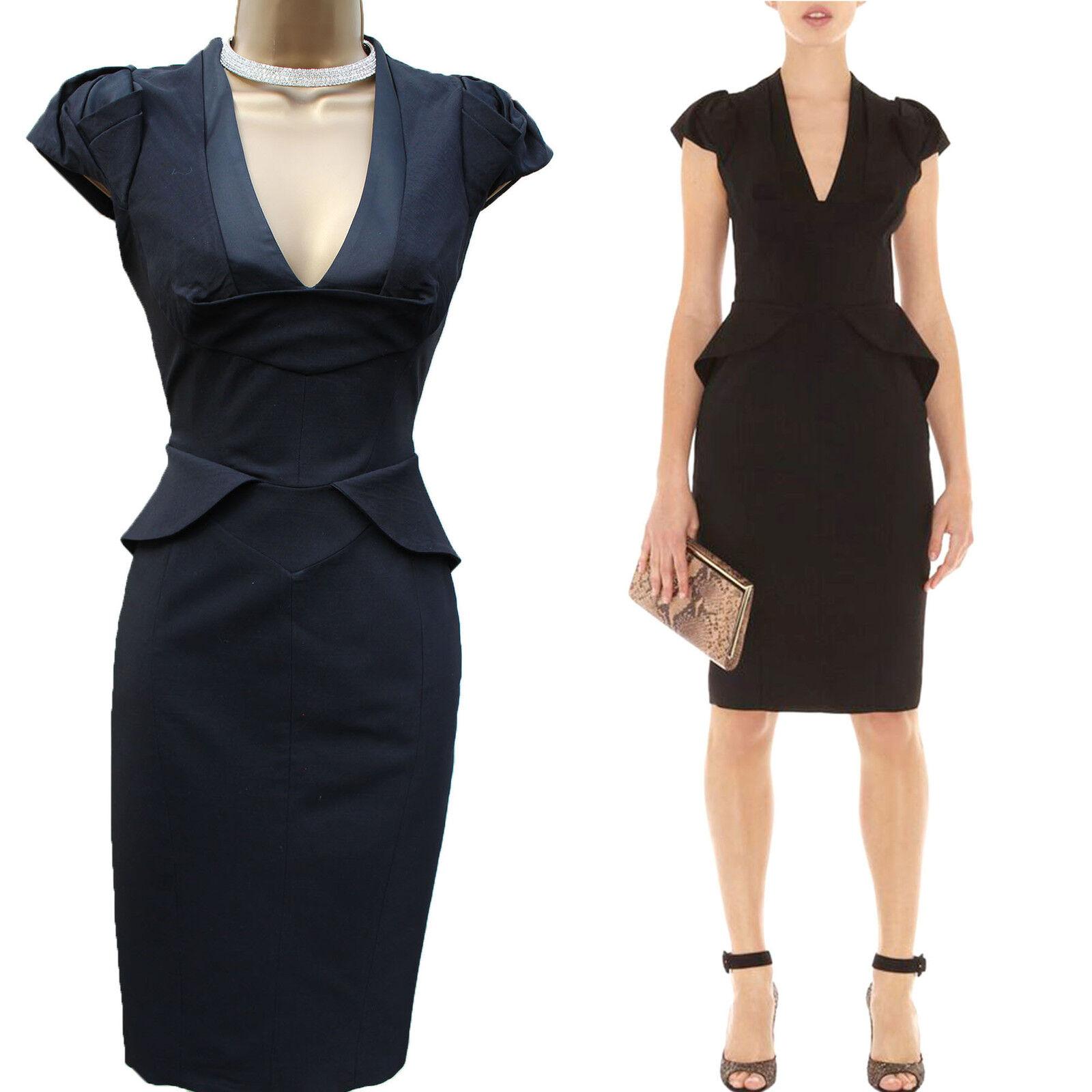Karen Millen schwarz TailGoldt Wool Blend Cocktail Evening Pencil Dress 14 EU