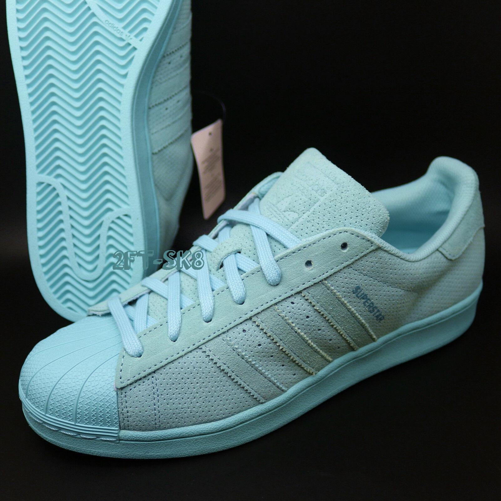 Adidas Originals SUPERSTAR SUEDE MONO Clear Aqua size 10.5   s89272.237