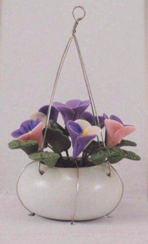 Flowers Pansies Hanging Pot  1//12 scale dollhouse miniature RP0008