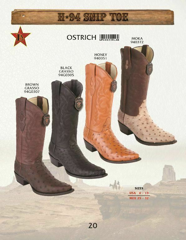 Los Altos Genuino Avestruz para hombre botas de vaquero occidental SNIP Toe