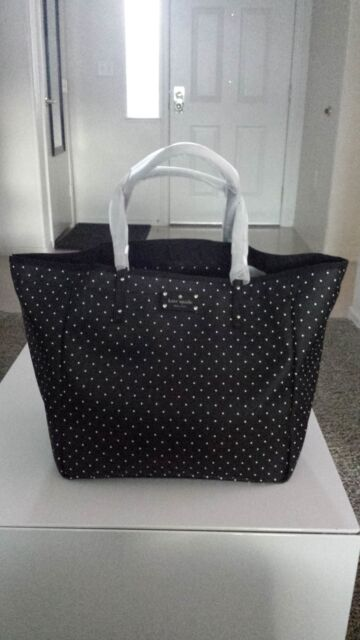 Kate Spade Sideny Kennywood Black White Polka Dot Canvas Tote Bag Purse Rare