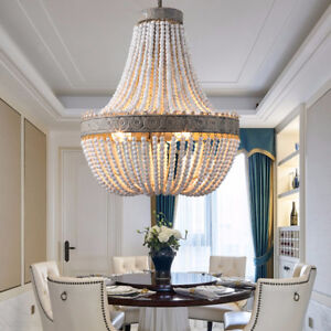 Details About Retro Chandelier 3 Light Aged Wood Beads Vintage Lamps Ceiling Pendant Lighting
