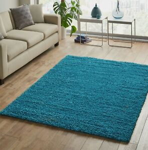 EXTRA-LARGE-THICK-TEAL-BLUE-MODERN-SHAGGY-RUG-SIMILAR-TO-DARK-DUCK-EGG-200x290