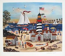 """Jane Wooster Scott """"BEACON ON THE BEACH"""" Hand Signed Limited Edition Lithograph"""