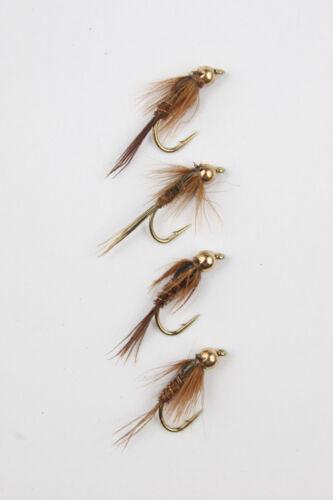 X4 goldhead Pheasant Tail Nymph Sze 10,12,14,16 Trout Fishing Flies.