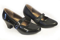 New Vintage style 1930's 1940s WW2 Wartime Black Mid Heel Mary Jane Court Shoes