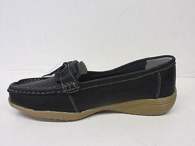 Damen Annabelle Slipper runde Zehen Freizeit Keilabsatz Schuhe Nancy schwarz,