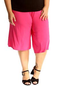 New-Womens-Plus-Size-Culottes-Ladies-Plain-Shorts-Palazzo-Elastic-Pants-Summer