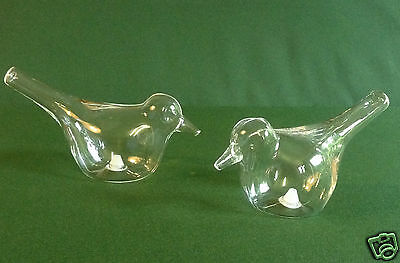 BIRD CRUETS CLEAR GLASS SALT AND PEPPER SHAKERS BUY ONE OR TWO SETS - BOXED