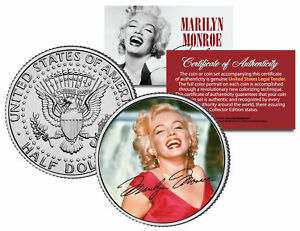 Marilyn-Monroe-034-Red-Dress-034-JFK-Kennedy-Half-Dollar-U-S-Coin-Licensed