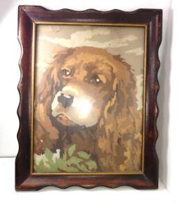 Details About Vintage Paint By Number Spaniel Dog Framed Finished Art Pbn