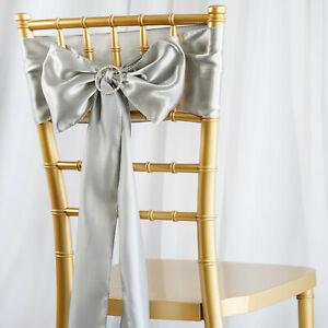 10 Silver Satin Chair Sashes Ties Bows Wedding Ceremony Reception Light Gray Ebay