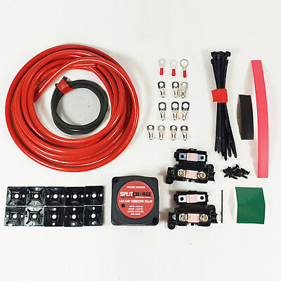 140 Amp Split Charge Relay Kit VSR 6 metres of cabling