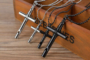 Unisex-039-s-Silver-Black-Stainless-Steel-Cross-Whistle-Necklace-Pendant-Chain