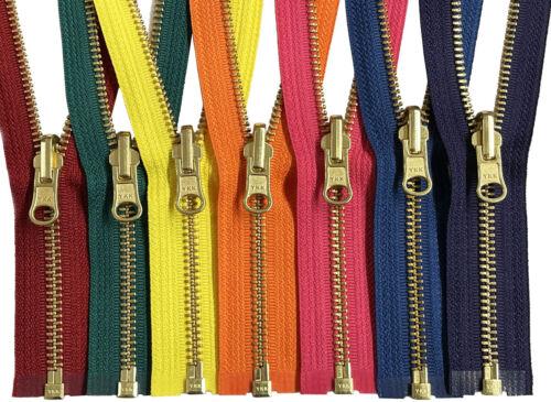 "YKK #5 Medium Weight Brass Zipper Reversible Inside//Outside Separating 16/"" 17/"""