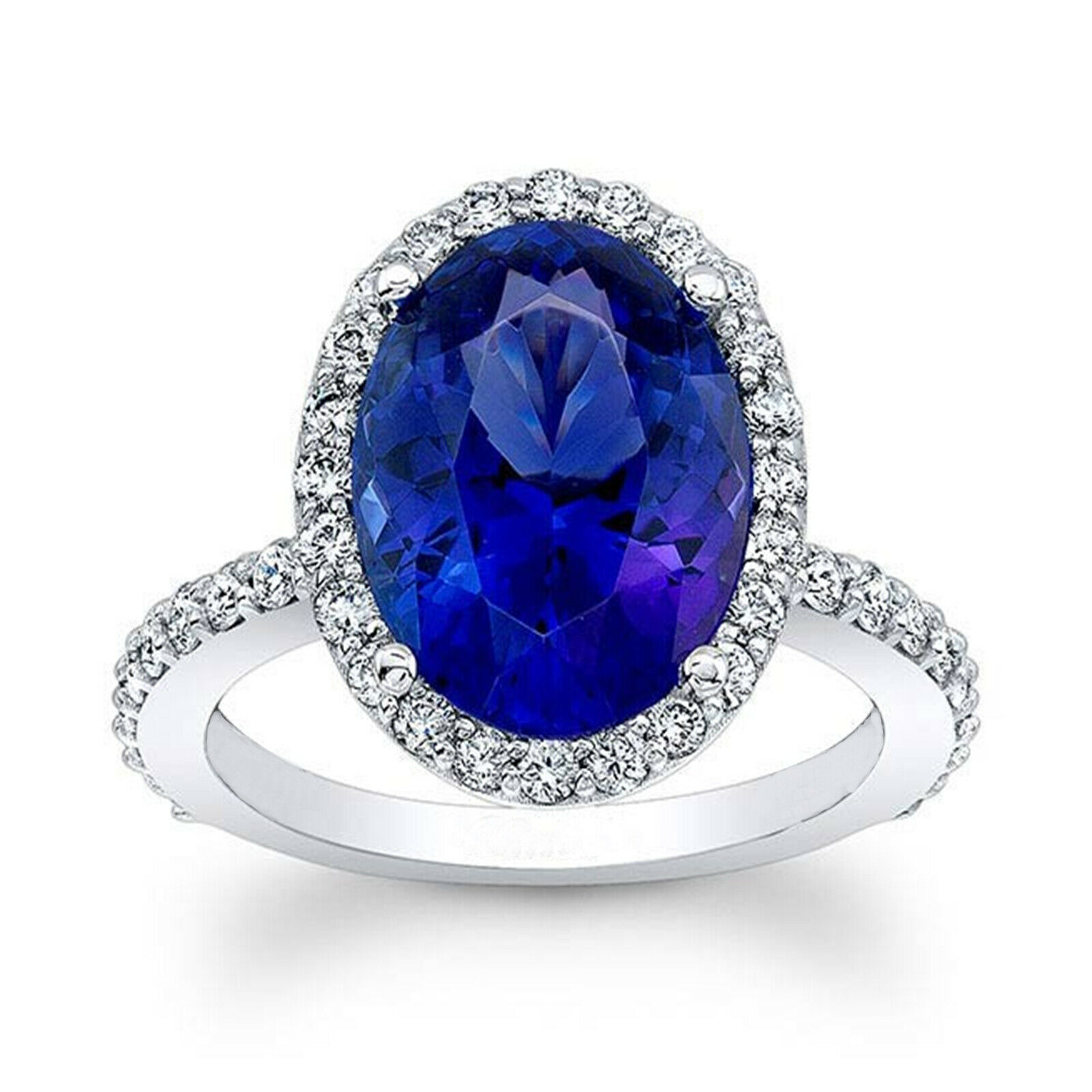4.50 Ct Sapphire Diamond Engagement Ring 14K Solid White gold Rings Size 5 6 7
