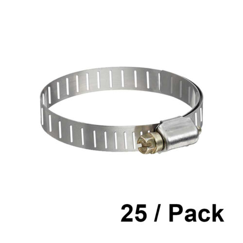 25 Pcs 1/4 to 5/8 Adjustable Stainless Steel Metal Band Radiator Hose Clamp