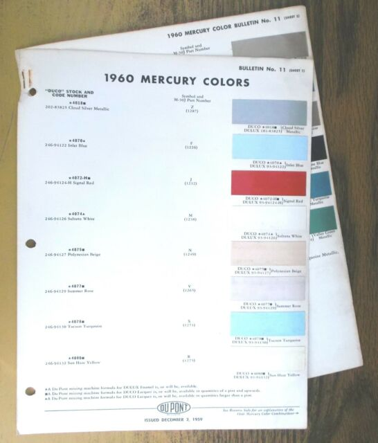 1960 Mercury Color Chips Cards By Dupont Automotive Paints