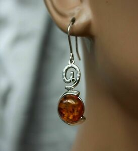 EARRINGS AVAILABLE UNIQUE COGNAC BALTIC AMBER PENDANT 925 STERLING SILVER