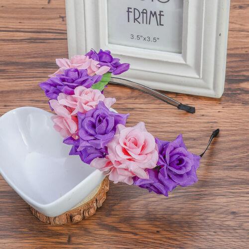 Bridal Flower Crown Headband Garland Hair Hoop Headwear for Party Wedding