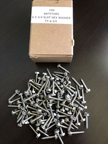 200 Sheet Metal Screws Stainless steel #6 X 3//4/'/' slotted hex washer head