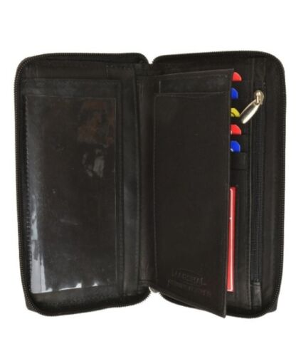 Genuine Leather Men Lady ID Credit Card Checkbook Cover Wallet Zip Around Holder