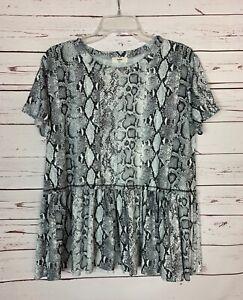 Entro-Boutique-Women-039-s-M-Medium-White-Snakeskin-Animal-Print-Cute-Top-Blouse-Tee