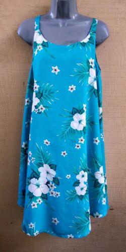 L M XXL XL Hawaiian Turquoise Floral Sleeveless Sun Dress Loose Fit Flare S
