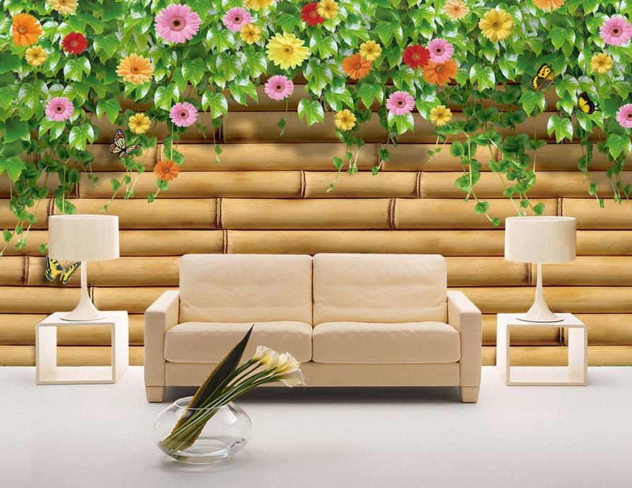 Papel Pintado Mural De Vellón Vid Flores De Madera 2 Paisaje Fondo De Pantalla