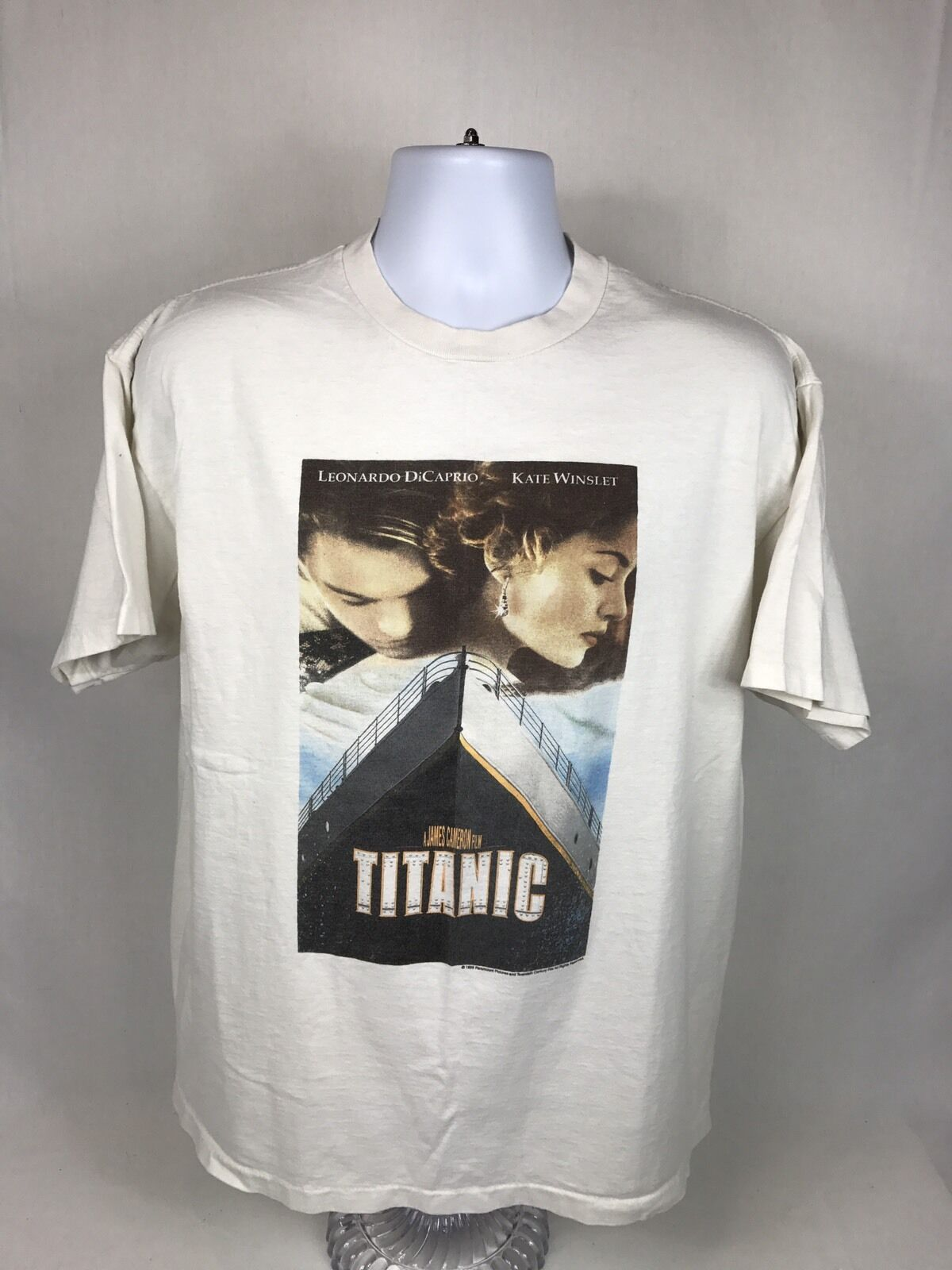 RARE VTG 1998 Titanic The Movie Leonardo DiCaprio Short Sleeve T-Shirt Größe XL
