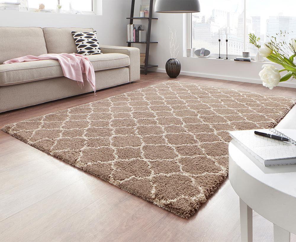 Design velluto Shaggy Tappeto Lunga Flor altamente Flor Luna Marroneee Crema pattern