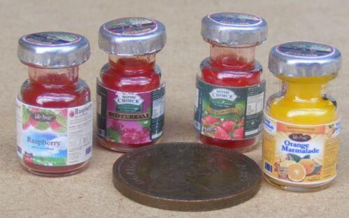 1:12 SCALA 4 barattoli di marmellata assortiti Casa delle Bambole Set Accessori da cucina preservare 3