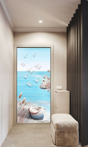 Stranded Boat 3D Self-adhesive PVC Door Sticker Room Decor Decal Waterproof
