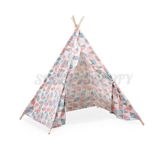 Large Kids Teepee Indoor Play Tent Cotton Wood Children Indian Tipi Playhouse