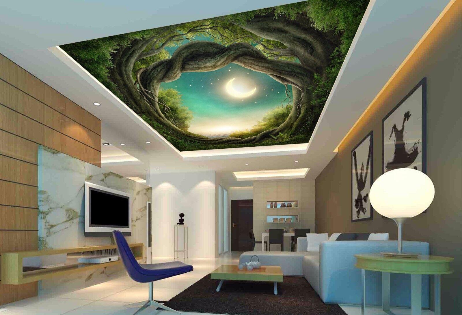 3D Tree Cave Moon 83 Ceiling WallPaper Murals Wall Print Decal Deco AJ WALLPAPER