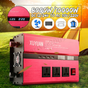 2000W-10000W Car Solar Power Inverter DC12/24V To AC110V/220V Sine Wave