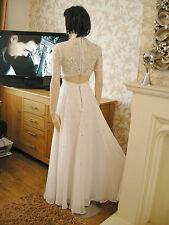 8 ASOS WHITE CHIFFON JEWEL MAXI DRESS BRIDAL ? FLOATY VINTAGE WEDDING SUMMER