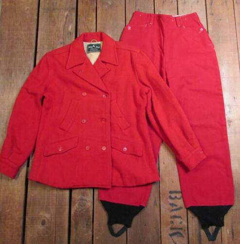 Vintage 1950s White Stag Red Wool Hunting Suit Pea