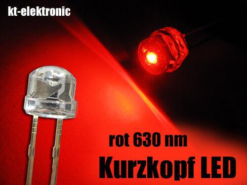25 Stück LED 5mm straw hat rot, Kurzkopf, Flachkopf 110°