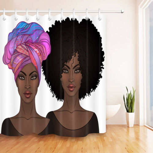 Afro /& Turban African American Girls /& Glossy Lips Shower Curtain Bathroom Mat