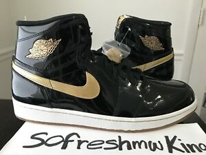 Retro 1 Nike Leather Jordan Sz14 2013 High I Patent 555088 Gold Air 019 Black Og nIAwgU