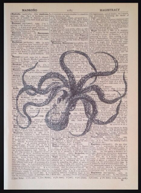 Octopus Sea Creature Nautical Wall Hangings Tapesty Vintage Art Print Poster