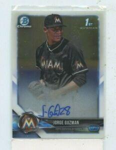 JORGE-GUZMAN-2018-Bowman-Chrome-Prospect-Auto-Autograph-BCPA-JG-Miami-Marlins