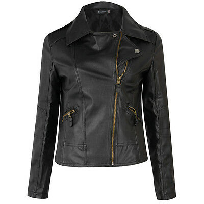 Women Punk Slim Biker Motorcycle Short Jacket Lapel PU Leather Coat Outwear