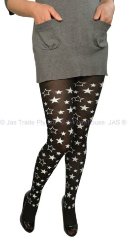 Halloween Costume Party Fancy Dress Tights Pantyhose Star Galaxy BLACK