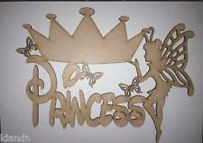 """3mm MDF Laser Cut blank craft """"Princess"""" sign/plaque with fairy."""